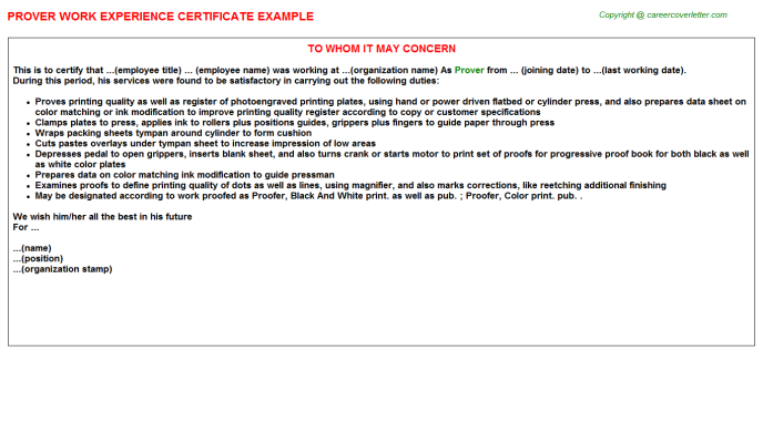Prover Experience Letter Template