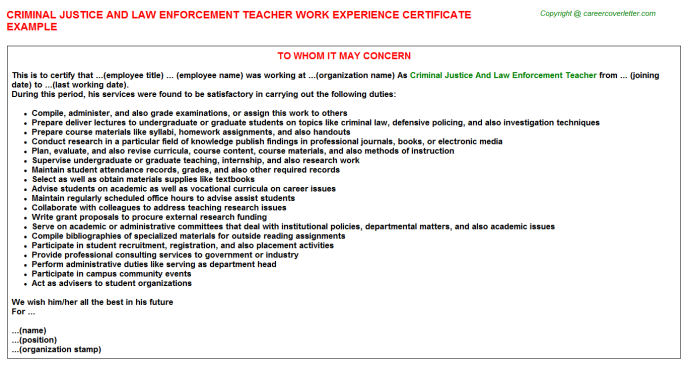 Criminal Justice And Law Enforcement Teacher Work Experience Certificate Template