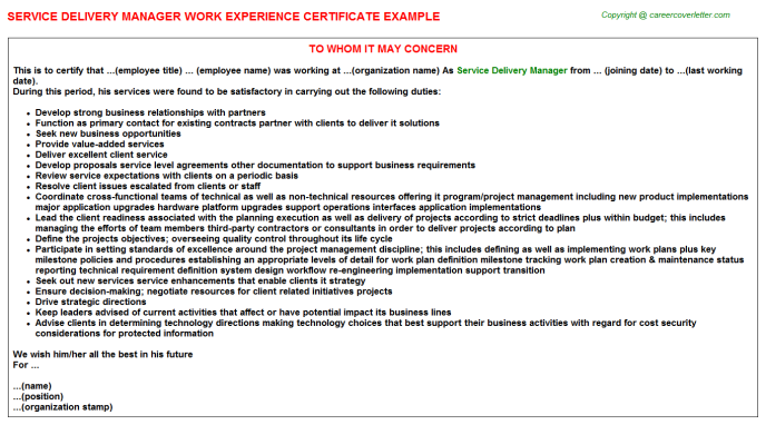 Service Delivery Manager Experience Letter Template
