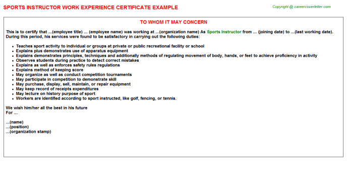 Sports Instructor Experience Letter Template