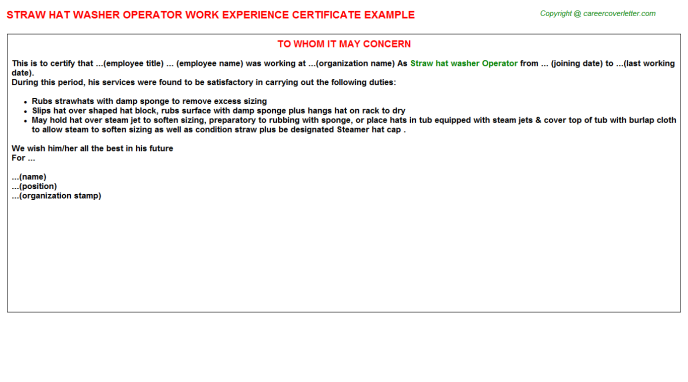 Straw Hat Washer Operator Work Experience Letter