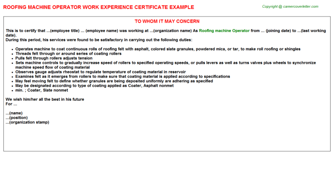 roofing machine operator experience letter template
