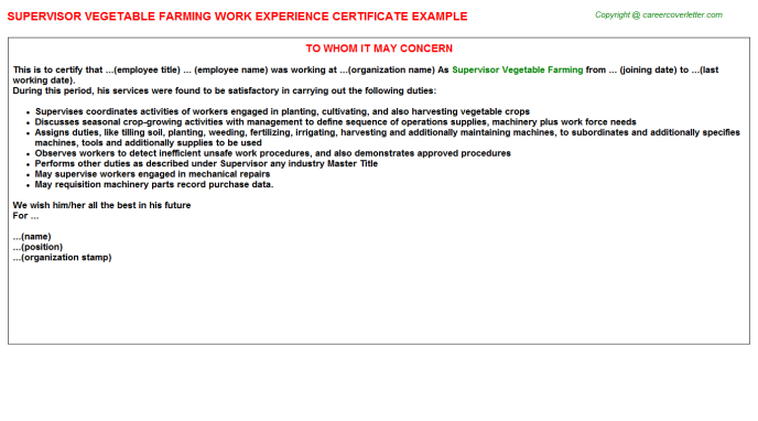 supervisor vegetable farming experience letter