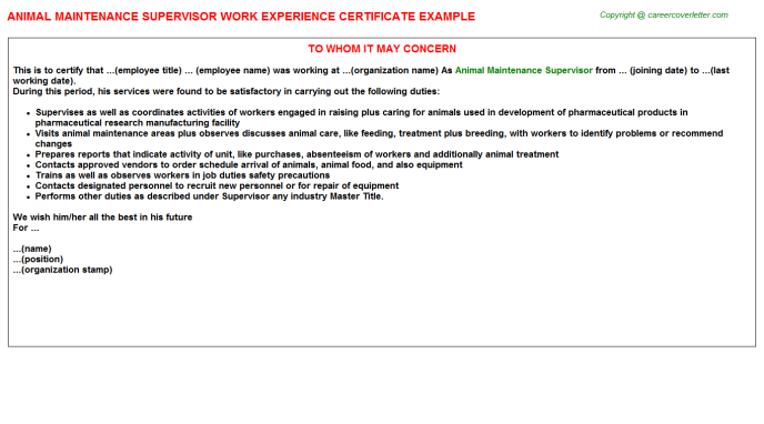 animal maintenance supervisor experience letter template
