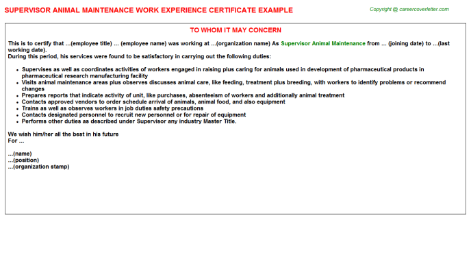 supervisor animal maintenance experience letter template