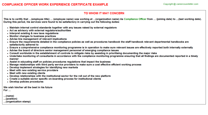 Compliance Officer Experience Letter Template