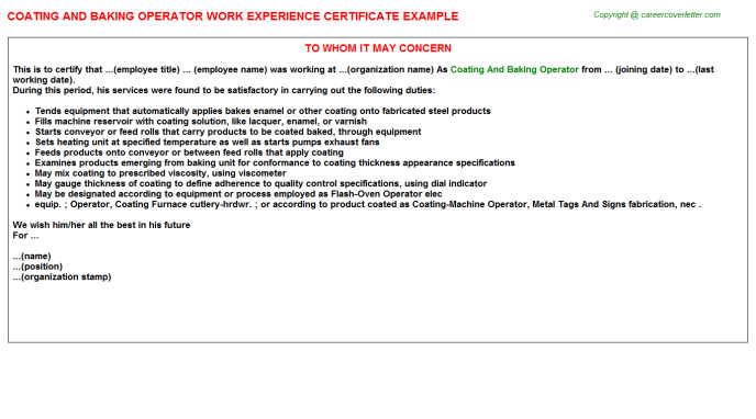 coating and baking operator experience letter template