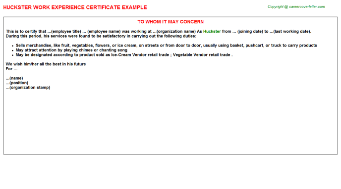 Huckster Experience Letter Template