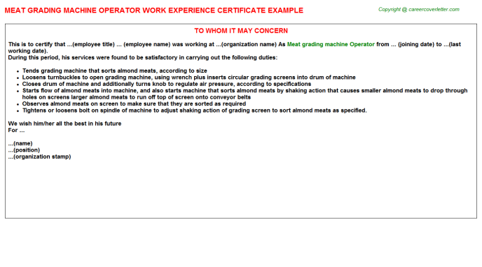 meat grading machine operator experience letter template