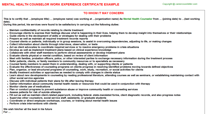 Mental Health Counselor Experience Certificate Template