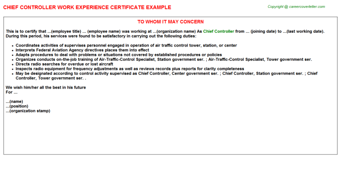 chief controller experience letter template