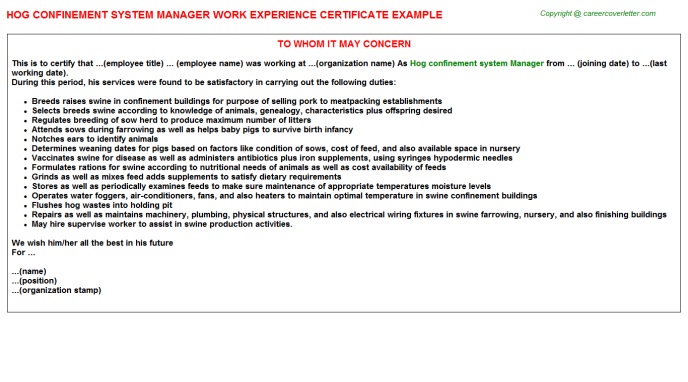 Hog Confinement System Manager Experience Letter Template