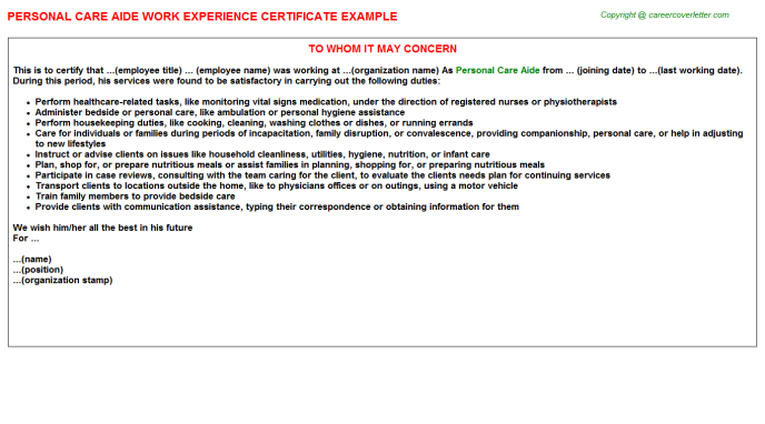 Personal Care Aide Experience Certificate Template