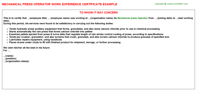 mechanical press operator experience letter template