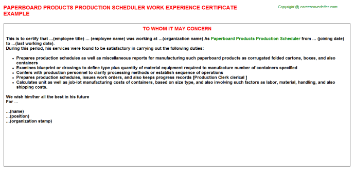 Paperboard products production scheduler work experience letter (#3750)