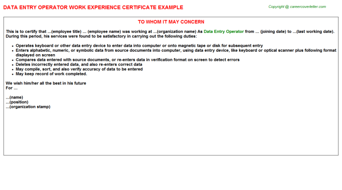 data entry operator work experience letter
