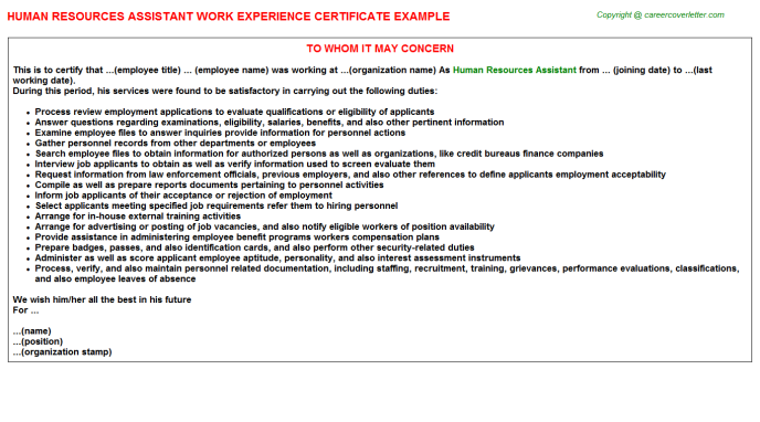 Human Resources Assistant Experience Letter Template