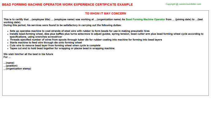 Bead Forming Machine Operator Experience Letter Template