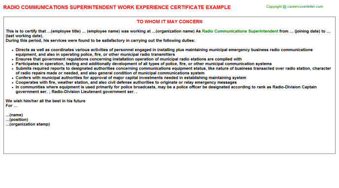 Radio Communications Superintendent Experience Certificate Template