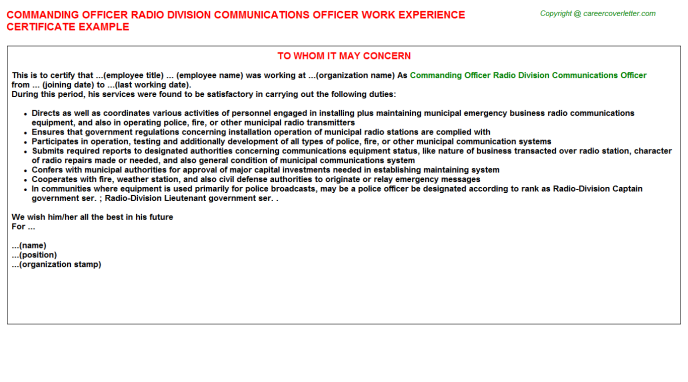 Commanding Officer Radio Division Communications Officer Experience Certificate Template