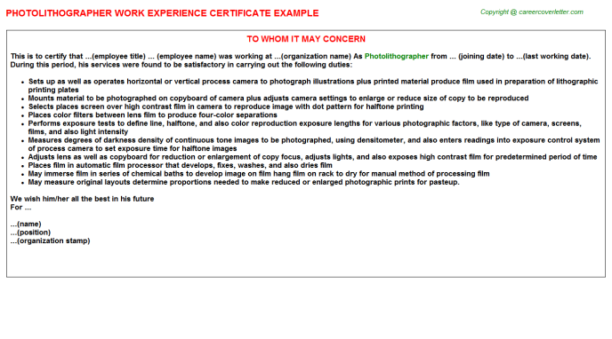 Photolithographer Experience Letter Template
