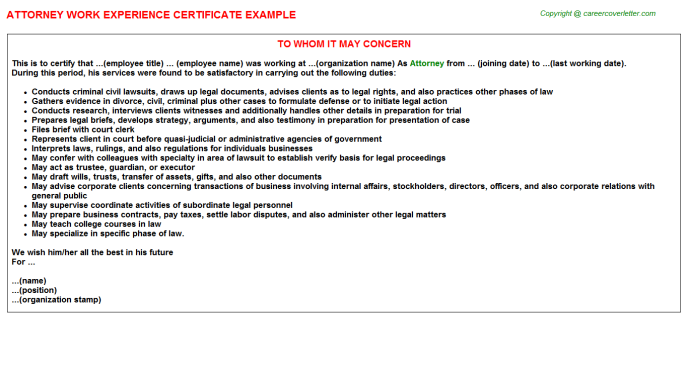 Attorney Work Experience Certificate Template