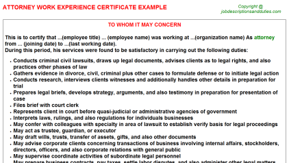 Attorney Work Experience Letter Template