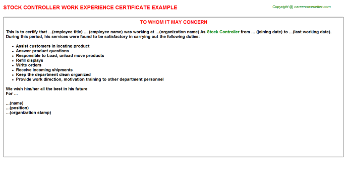 Stock Controller Experience Letter Template