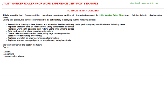 Utility Worker Roller Shop Experience Letter Template