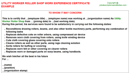 Utility Worker Roller Shop Work Experience Letter Template