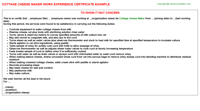 cottage cheese maker experience letter template