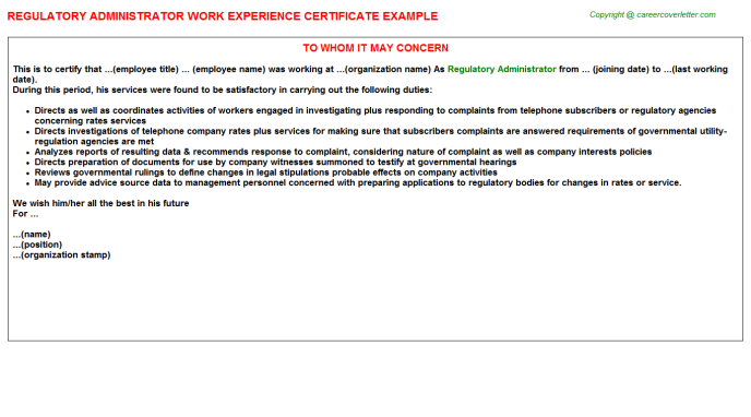regulatory administrator experience letter template