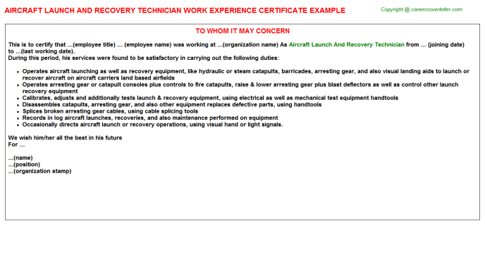 Aircraft Launch And Recovery Technician Experience Letter Template