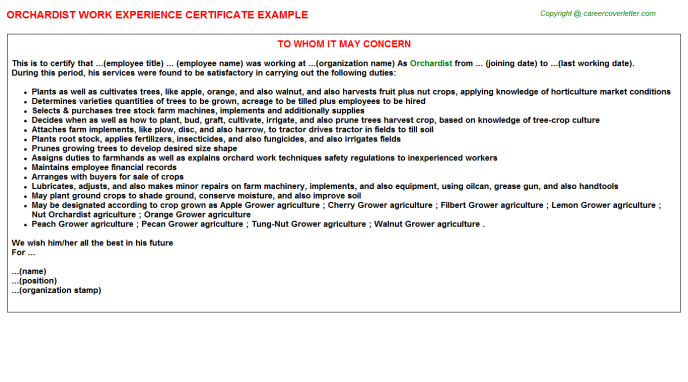Orchardist Experience Letter Template