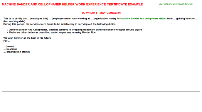 Machine Bander and cellophaner Helper Experience Letter Template