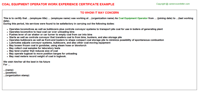 Coal equipment Operator Experience Letter Template