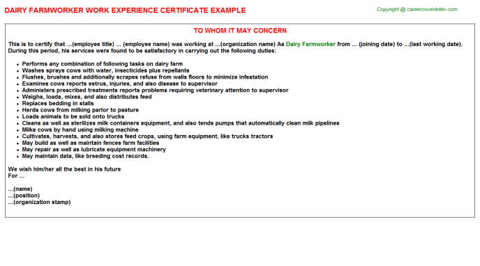 dairy farmworker job experience letter sample