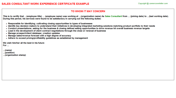 sales consultant work experience letter