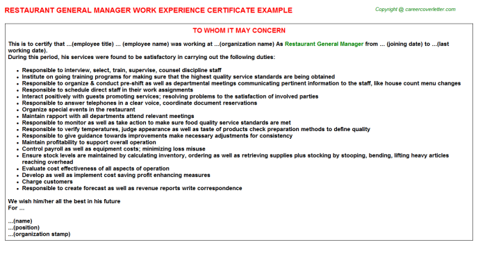 Restaurant General Manager Experience Letter Template