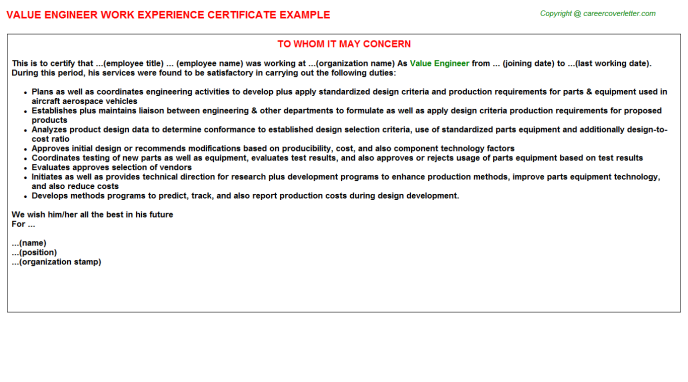 Value Engineer Work Experience Letter Template