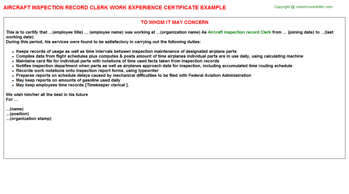 Aircraft inspection record Clerk Experience Letter Template