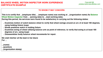 Balance Wheel Motion Inspector Work Experience Letter Template