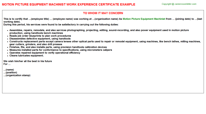 motion picture equipment machinist experience letter template
