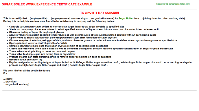 sugar boiler experience letter template