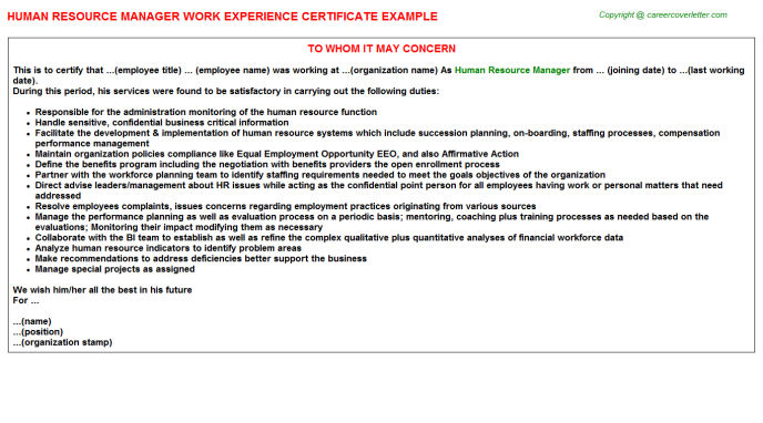 Human Resource Manager Experience Letter Template