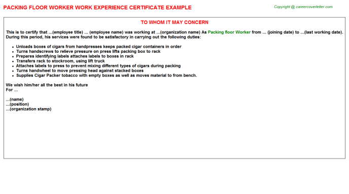 packing floor worker experience letter template