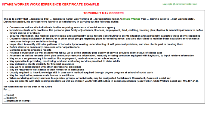Intake Worker Job Experience Letter Template