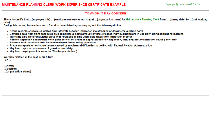 maintenance planning clerk experience letter template