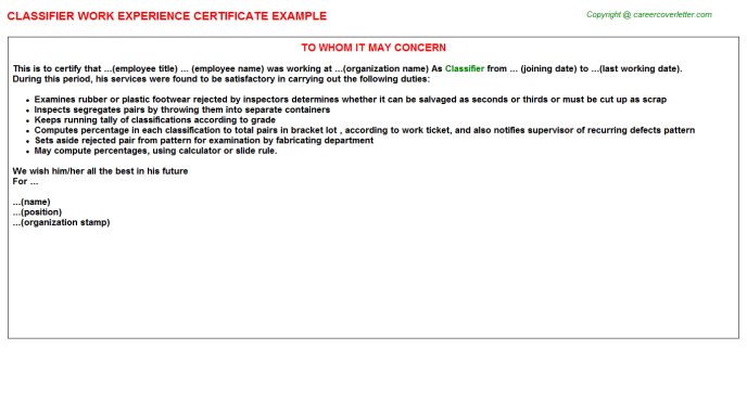 Classifier Experience Letter Template