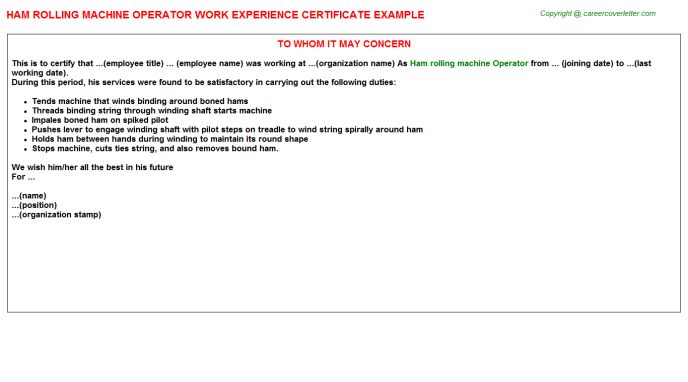 Ham Rolling Machine Operator Experience Letter Template